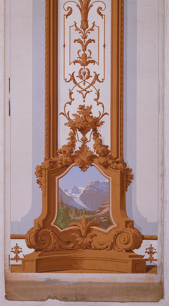 Tall conventionalized pilaster ornamented with leafy brown scrollwork and bordered by brown molding strips. At the capital is an inset landscape in colors of mountains and a lake. At the base of the column, a similar picture showing rocks and mountains. Gray bands on either side of the pilaster. Printed on off-white ground.