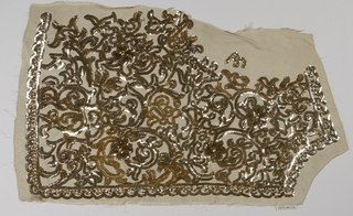 Embroidery sample in the form of a bodice front with an all-over scrolling pattern in gold and silver-colored transluscent sequins.