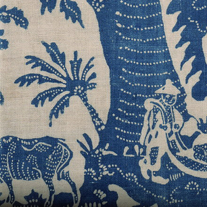 Eight pieces, in irregular shapes, of resist-printed cotton, with a design in blue on a white ground.  Under the leafy branches of a large tree appear two Chinoiserie scenes. In one, a line of figures in Chinese costume appears: a man with crude plow, a man arranging flowers in vase, a man playing a wind instrument, a man behind a table with a fly whisk, a man in large hat with his hand upraised, and a woman with flower standing before a pavilion in which is seated a man in wide hat.  In the other, two hunters with bows and arrows are pursuing an ostrich and a stag.  Chinese pavilions appear in the background.  Two cows are probably associated with man with the plow.  Above these scenes, the broad limbs of the tree stretch from left to right; in them appear a monkey and a squirrel.   The design is decorated throughout with lines of white dots, either emphasizing line of growth of leaves or form of a dress, or added as extra decoration.  In the island, supporting the scenes, there are curved lines of dots, of decorative character, following the lines of these islands.