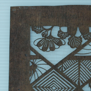 Stencil, Geometric Pattern with Cranes and Flowers