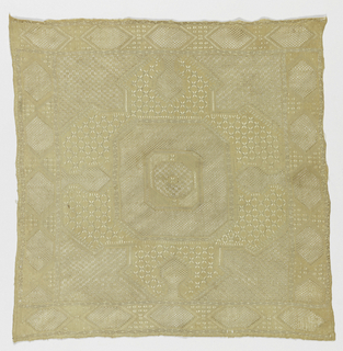 Central octogon surrounded by borders. Embroidery showing eight-pointed stars, diamonds, etc. in counted satin stitch with conventionalized trees, hexagons, and bands of openwork stitches.