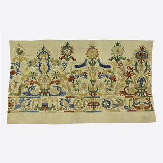 Wide border with design of birds on uprights stems bearing flowers and leaves, fish with scrolls; narrow border with mermaids holding tails, birds flowers and scrolls.