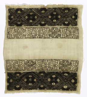 Small panel of cream white linen embroidered in cross borders, horizontal in black silks. Highly stylized geometric and foliage forms with counted running stitch and surface stitch. One selvage present.