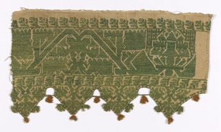 Valance fragment with triangular points and a geometrical floral vine pattern. In green silk on linen.