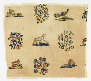 Piece of crewel embroidery colored yarns with scattered motifs in a grid arrangement.  The motifs do not repeat in a regular manner but alternate a florral motif [8 different ones, sometmes facing in different directions] with an animal or bird motif [8 different ones]   Different colors are used when a motif is repeated.