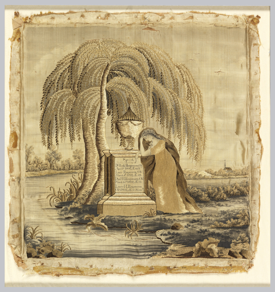 Embroidered picture, nearly square in format, depicting a mourning female figure leaning on a tomb surmounted by an urn under the shade of a weeping willow. The tomb bears the inscription: 