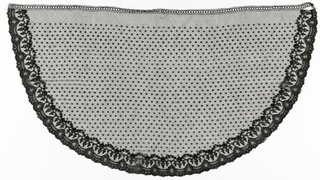 Semi-circular piece with a floral border and a scalloped edge. Field is dotted and straight upper edge has a narrow border attached to it. A thicker black thread outlines all motifs.