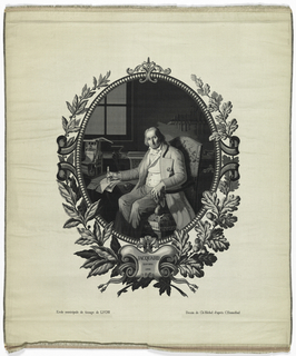 "Panel showing a portrait of Jacquard seated in a chair in his textile workroom; he holds a compass. Underneath the portrait is the notation: ""Jacquard 1752–1834."" Beneath that are the notations: ""Ecole municipale de tissage de Lyon"" and ""Dessin de Ch Michel d'apres C. Bonnefond."""