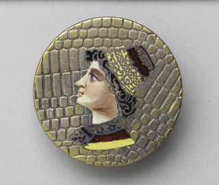 depicting a bust of a young courtier in Renaissance-style hat and costume, in profile on a faux-lizard like surface-the hat and collar with shades of yellow, red and deep blue.