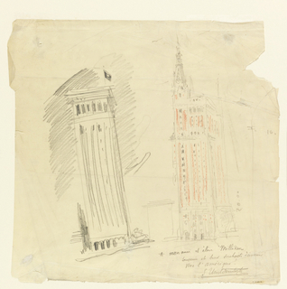 Drawing depicts two skyscrapers in lower Manhattan.