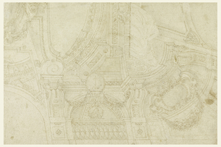 Drawing depicts the corner of a heavily decorated ceiling.