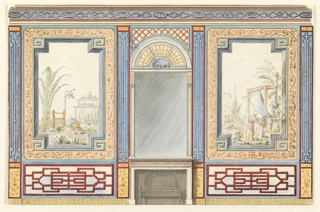 Elevation of a wall, with a mantelpiece in the center, surmounted by a tall mirror. Over the mirror a painted fan-shaped design. At the sides of the mantelpiece, the walls have large painted panels of Chinese figures in landscape settings, enclosed in wide decorative frames.