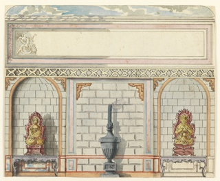 "Elevation of a wall, with a painted decoration in imitation of stonework. Niches to left and right contain console tables bearing seated figures of deities. The central section shows a large panel, with indication in graphite: ""sky"", enclosed in border."