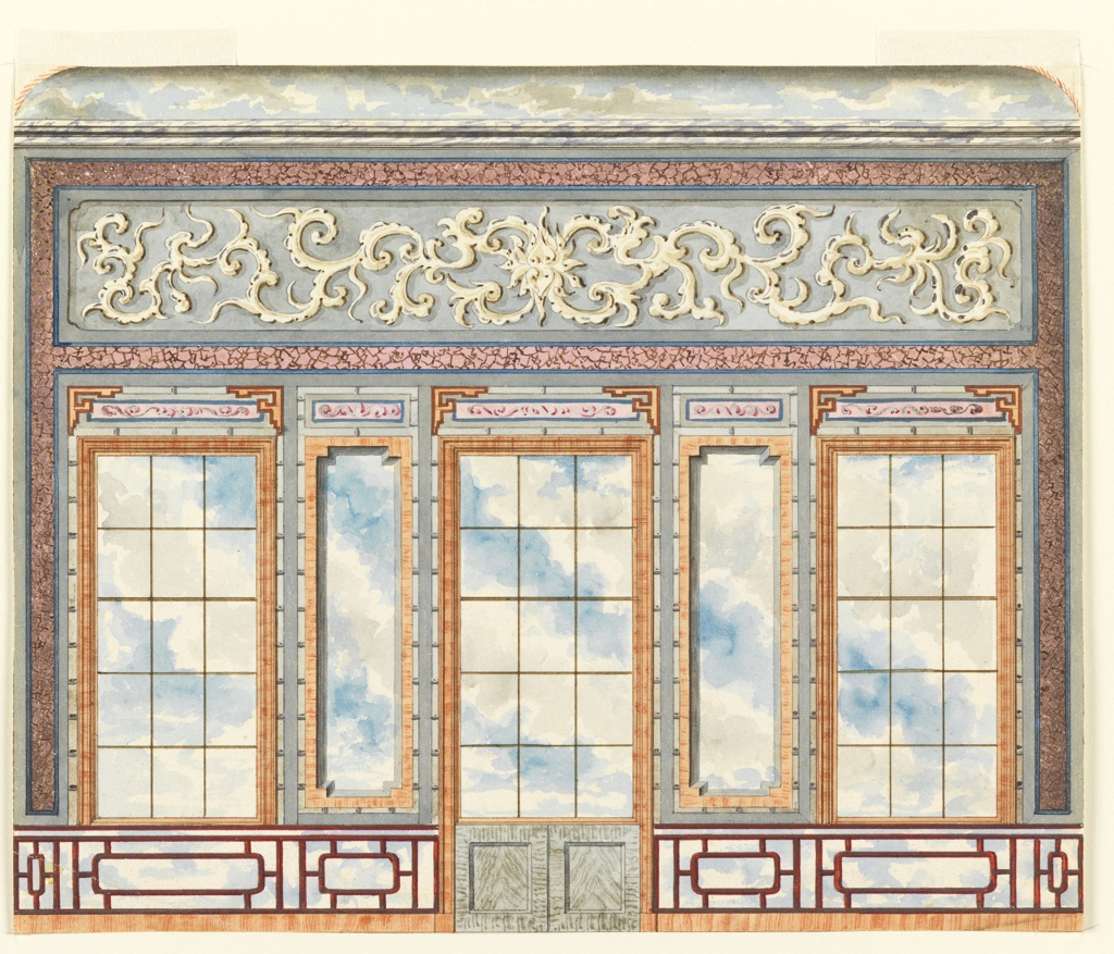 Elevation of a wall, with a painted decoration of a series of panels giving the illusion of window openings with a cloudy sky behind them. A dado of lattice work, with sky behind it. Upper section of wall with painted decoration in marbleized border. Section of ceiling with painted sky is shown above.