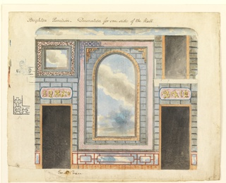 Elevation of a wall, with doorways flanking a large central painted decoration consisting of a cloudy sky, enclosed in a frame, and surrounded by painted representation of stonework and a border of lattice work design. Over the doorway, left, a tablet with Chinese characters, and above that a rectangular framed panel with painted sky.