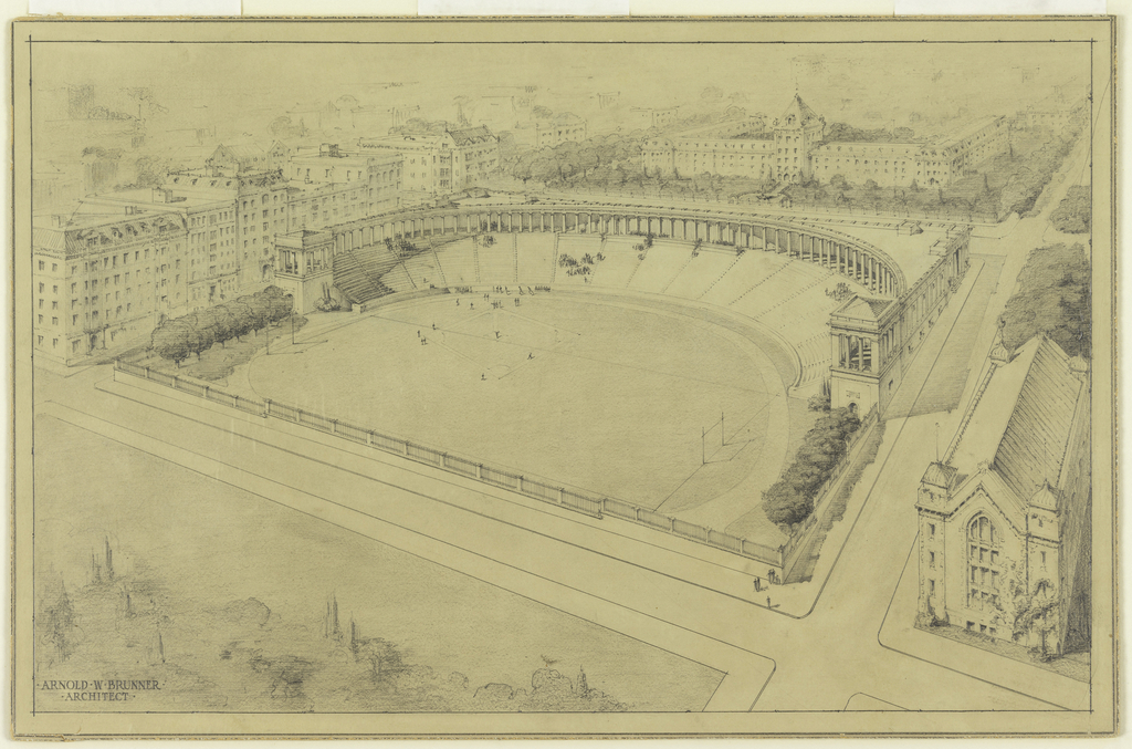 Drawing, Proposed Stadium for the College of the City of New York (Lewison Stadium, 1915)