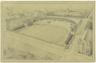A semicircular stadium surmounted by an open arcade faces a football and baseball field. College and city buildings border on three sides. Lower left: ARNOLD BRUNNER / ARCHITECT.