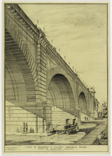 An arched bridge viewed at an angle with cars and people below.