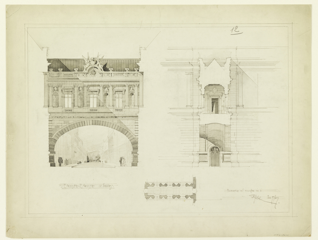 Front elevation, section, plan. Design for a street bridge, connecting buildings on opposite sides of the street. Elevation shows arc-shaped span below, surmounted by one storey consisting of three window openings, flanked by half-round columns and blank niches.