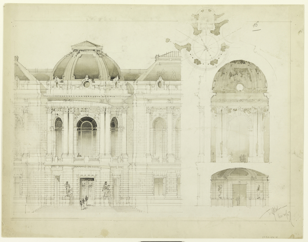 Front elevation, section, plan, profile. Design for the central bay of a public building. Two storeys high, surmounted by a dome.