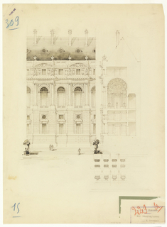 Front elevation; side elevation and plan of several bays of a public building. Four stories high on a podium or base; large openings alternating with small ones; gabled roof.