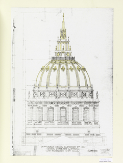 Portfolio containing 23 photostats of the principal working drawings for the San Francisco City Hall, constructed between 1913 and 1916, and explanatory sheet giving the history of the building's construction. Drawings are of ground plan, elevations, dome, interior and exterior architectural decoration.