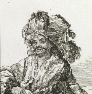 Dark-skinned man with mustache leans against low wall. Both hands at belt, from which hangs long curved sword. He faces frontally, and wears stiff striped turban with fur, feathers, and pearls.