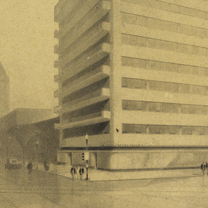 Large building with terraces at left end, situated in a wide plaza.
