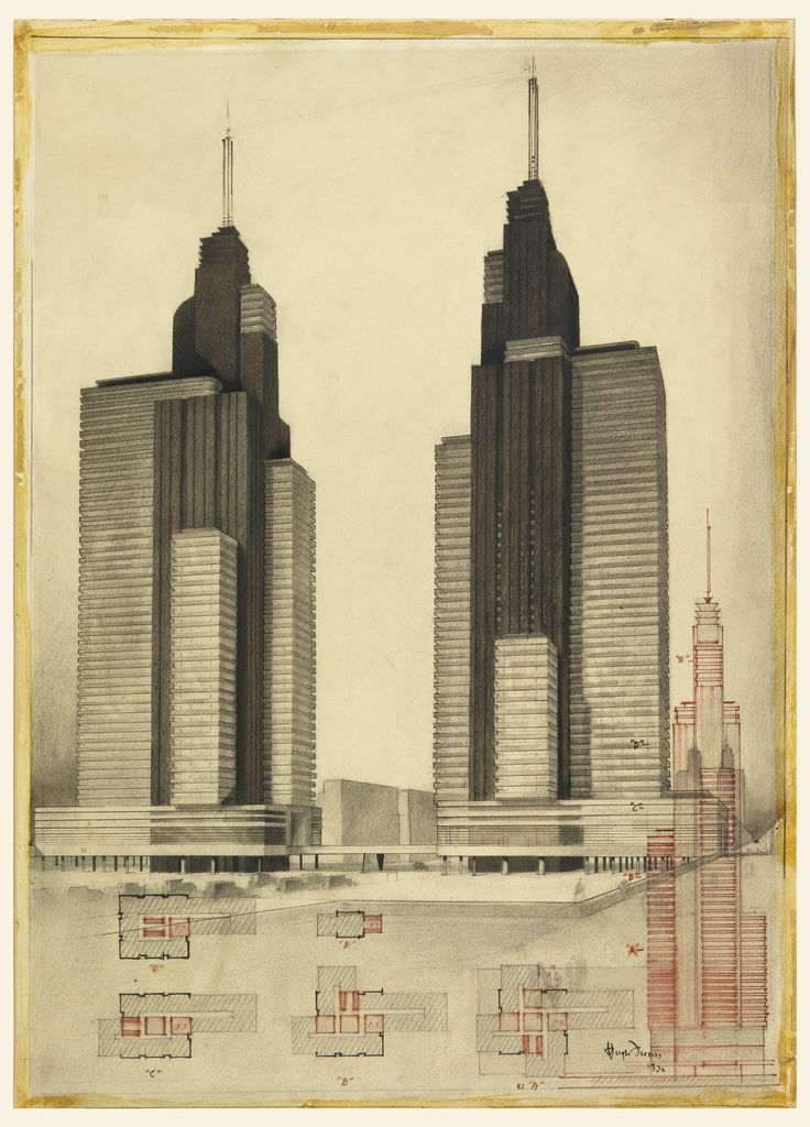 Two skyscrapers, slightly varied in design, with covered malls at base are rendered in full at center, while in red ink at right the same are shown with technical specifications, including floor plans below.