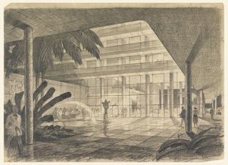 Large building lobby, upper tiers visible, large trees and fountain at left, sculptures on a pedestal center.