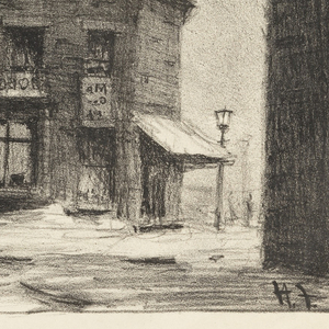 Winter street scene with horse-drawn vehicle in front of an inn.