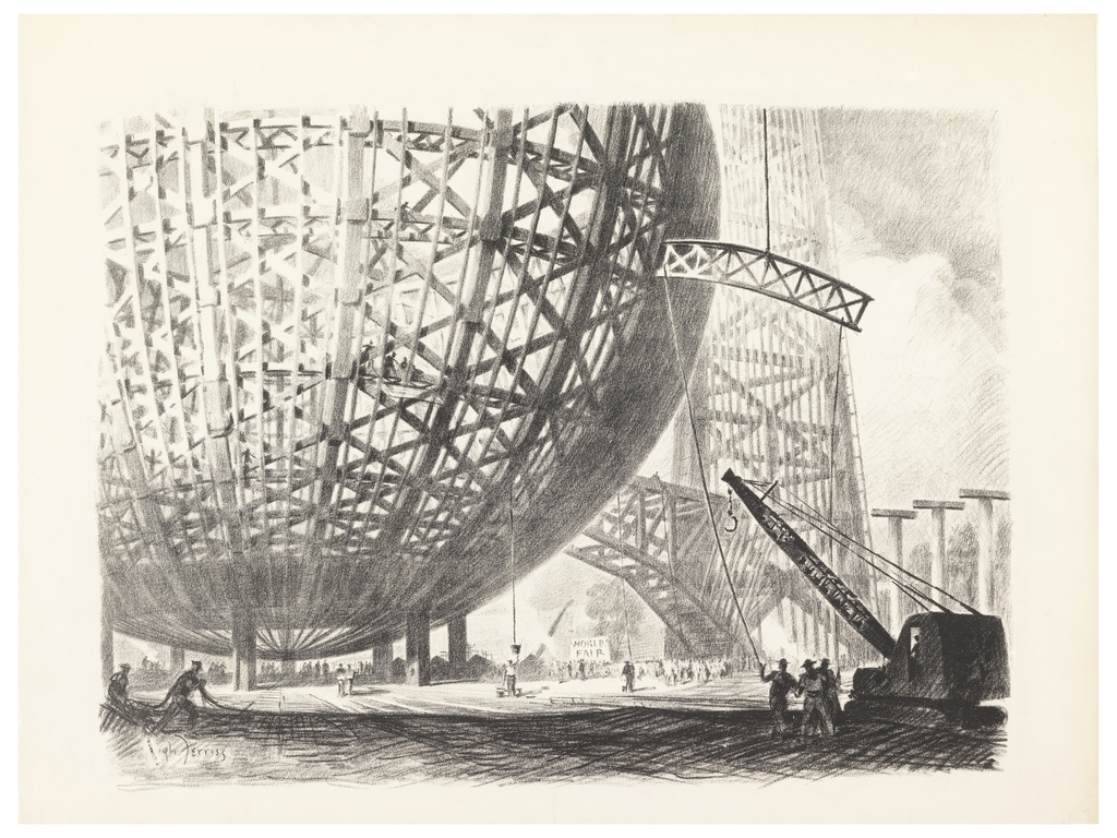 Print, Construction of the Trylon and Perisphere, 1939 New York World's Fair