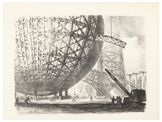 Print, Construction of the Trylon and Perisphere, 1939 New York World's Fair, ca. 1939
