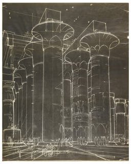 On black sensitized paper, a design in white of a structure with large Egyptian columns and tiny bodies.