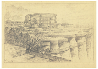 On beige paper, a ten-story curved building on a plaza above palisades. A cross on a pedestal near edge of cliffs.