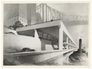 On white paper, underpass as seen from the East River looking north, Queensborough Bridge in the background.