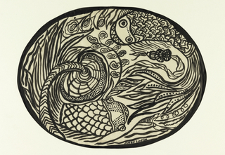 An oval design filled with an abstract image of fish and a dragon.