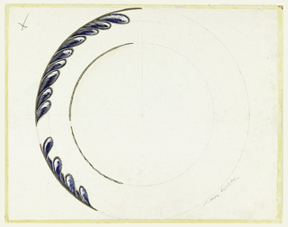 Design for a plate with a feathered petal motif on left border in blue and white; well rim.