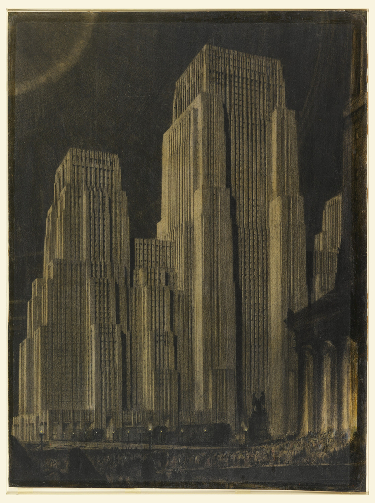 Night scene of monumental stepped skyscrapers. The modern structures are shown in dramatic contrast to a classically inspired building just visible at lower right.
