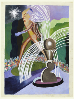 Abstract landscape with fountain sculpture at center spewing arcs of water into still water below. A nude figure walks behind fountain towards left; green vegetation in background and floral pattern in long curved line below.