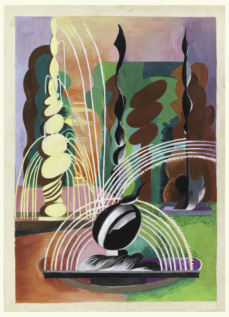 Abstract landscape with fountain sculpture at center spewing arcs of water; tall cream and black curved objects before a green and peach background.