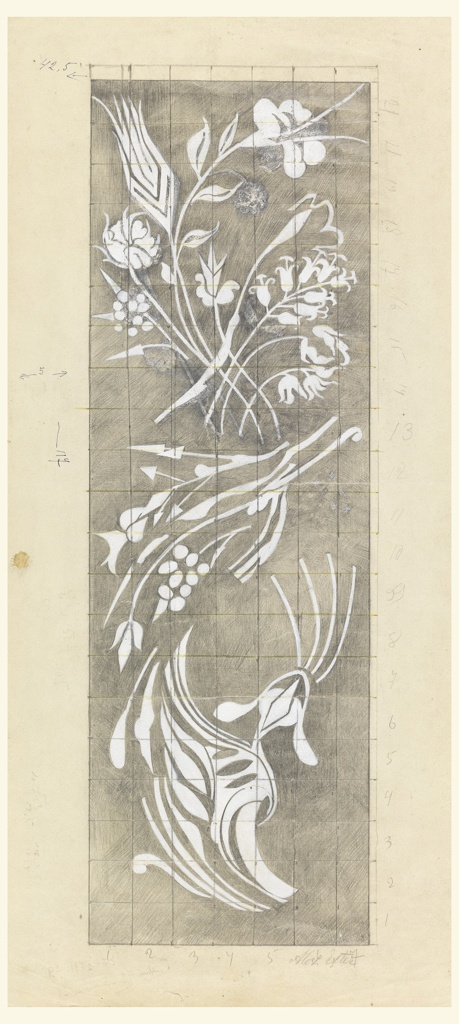 On a gridded ground, white flowers and vines in vertical pattern on grey ground, with graphite markings.