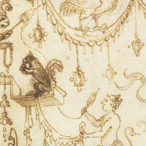 The edges of the sheet are framed by candelabra (rendered in half form) composed of a variety of swags and animals, notably a pelican at top center; a monkey  wearing a jester's cap at upper left; a saytr at center facing left and climbing stairs; a duck and a dragon fly at center and two frolicking rabbits at lower right.