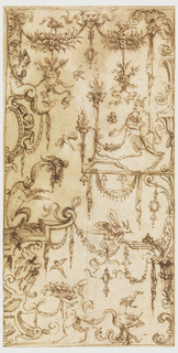 The edges of the sheet are framed by candelabra and strapwork frame (rendered in half form) and composed of a variety of swags and animals. A saytr at right faces left and holds a swag; a fantastic animal crouches at left and at bottom of sheet walks left carring a bunch of flowers and is followed by a goose.