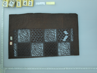 Two rows of squares, decorated with different designs, alternate between positive and negative motifs, creating a checkered pattern within the design. The positive spaces squares are all the same abstract tall grass motif. While other squares resemble a similar soot ball characteristics but differentiate amongst one another.
