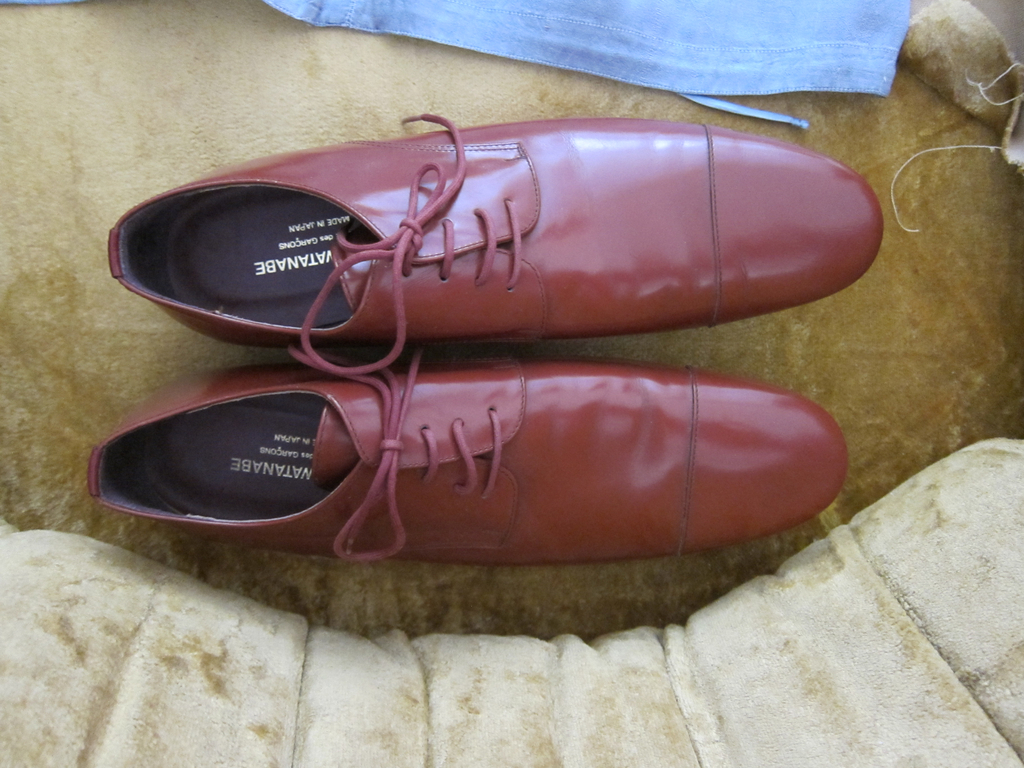 Two brown leather shoes