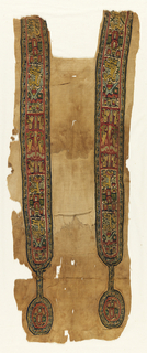 Fragment of a linen tunic with nearly intact clavus bands with pendant medallions in-woven in wool tapestry. Bands have a red ground with polychrome figures of very stylized animals, and black borders with scrolling patterns.