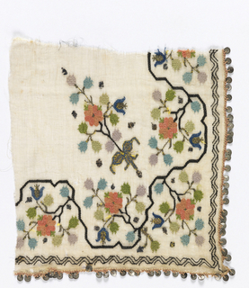 Corner piece with small-scale conventionalized flowering vine design in polychrome silk, silver and gold with silver sequins sewn to the edge.