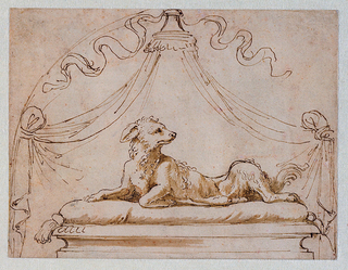 A dog lying in stately fashion atop a dais and tasseled cushion and beneath a canopy with curtains pulled aside.