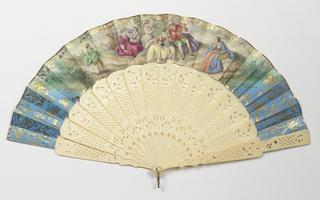 Pleated fan. Gilded paper leaf with hand-colored print showing pastoral scenes with people in eighteenth century costume. Ivory sticks carved in floral and diaper designs.